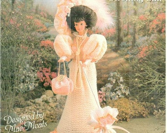 1893 Gibson Girl Strolling Suit, pattern fits Barbie dolls. Design by Mae Meats, Annie Potter Presents fashion doll crochet pattern 04010397
