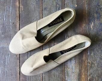 Vintage Tan Canvas Fabric Pointy Toe Slip On Summer Flats 8.5 M