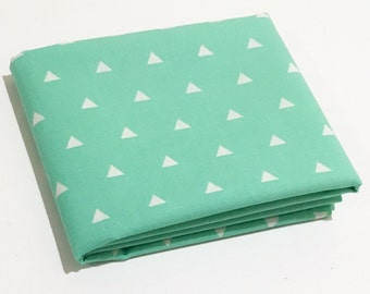 Mint and White Triangle Fabric  - MG09 Hip Geometric Cool Mint Triangle Micro Print Fabric for Quilting and Apparel by the Yard