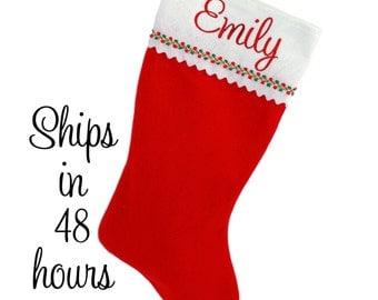 Personalized Christmas Stocking - Red Felt with Embroidered Name
