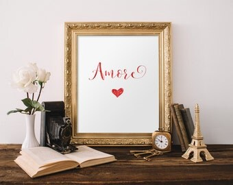 Amore print, Love print, Bedroom art prints, Home decor, Romantic gift, Typography art, Bedroom decor, Love wall art, Printable art BD-770