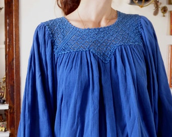 Vintage blue mexican tunic/blouse crochet 80's Mexico hippie ethnic