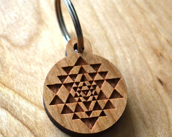 Sri Yantra Keychain - Precision Laser Cut Sacred Geometry Quality Hand Finished Natural Wood LT30014