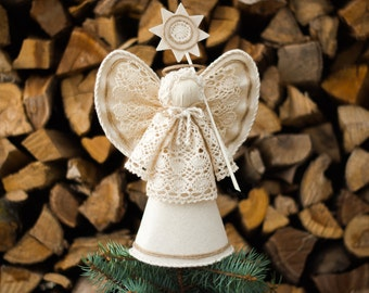 Angel Tree Topper, White Christmas Ornaments, Holiday Centerpiece, Christmas Gift
