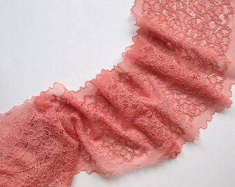 Pink Stretch Lace, pink lace, elastic lace, lingerie lace, evening dress lace, width 8,26 inch lace, 21 sm lace, lace per metre, Nr 1278