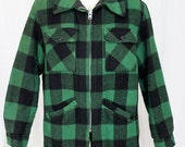 Vintage Weatherguard by Shane GREEN Plaid Wool Hunting Jacket Retro Lined Coat M
