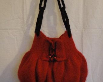 red felt bag, felted wool bag, OOAK red handbag, felted handbag, red and black bag, bag with lacing, cheeky red bag, corset design handbag
