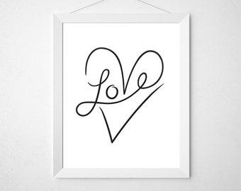 Love Typography, Love Art Print, Word Art, Heart Artwork, Wall Art Prints, Love Printable, I Love You, Art Download, Prints, In the Hallway