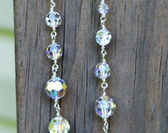 Swarovski Crystal Dangle Earrings, Prom Jewelry, Wedding Jewelry, Dangle Earrings, Crystal Earrings, Long Dangle Crystal Earrings,