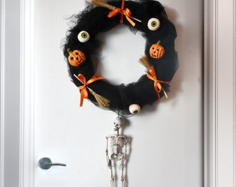Handmade Creepy Black Halloween Wreath