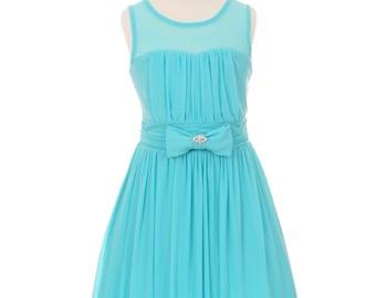 Flower Girl Dress Aqua sweetheart neckline chiffon dress, Aqua flower girl dress, Aqua junior bridesmaid dress. Aqua girls formal dress