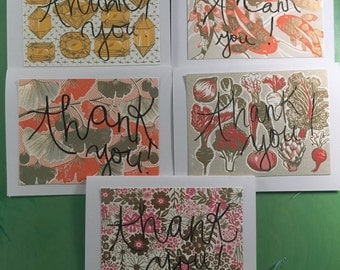 set of five - thank you cards