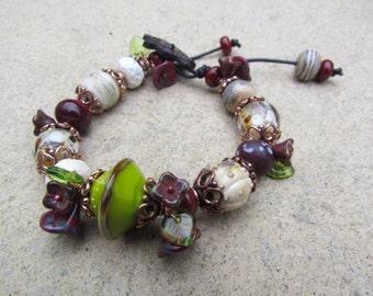 Chunky Bohemian Lampwork Bead Bracelet ~ Rustic Beaded Bracelet, One Of A Kind Turtle Bracelet, Unusual Boho Jewellery, Unique Handmade Gift