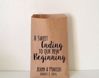 Wedding Favor Bag, Sweet Ending to a New Beginning Candy Bag, Favor Bag, Personalized Wedding Favor Bag, Treat Bags, Custom Favor Bags