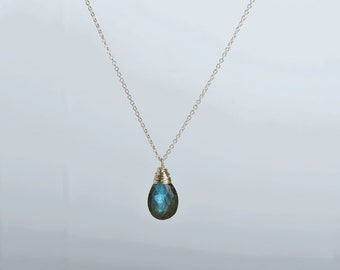 Labradorite Necklace, Blue Fire AAA Labradorite Pendant, Labradorite Jewelry, 14K Yellow/ Rose Gold Filled/ Sterling Silver