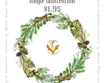 Watercolor clipart, CHRISTMAS wreath clipart, holiday clipart, pinecone clipart, Christmas Watercolor, wedding clipart, Wedding wreath,