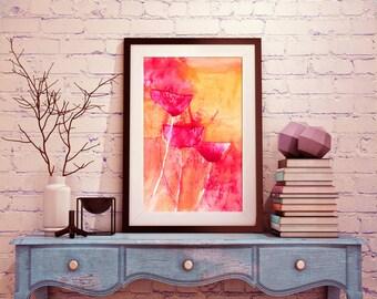 Poppy Watercolor Art Print, poppies watercolor print, poppy wall art, modern flower art