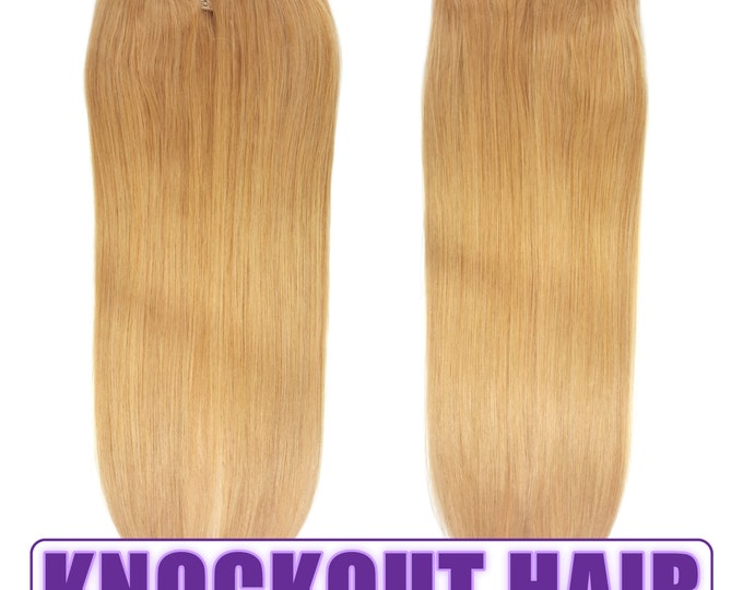 """Halo Hair Extensions 20"""" Medium Golden Blonde (#20) - Human No Clip In Flip In Couture by Knockout Hair"""