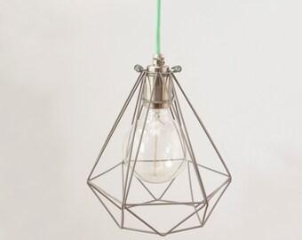 Diamond cage pendant with Nickle lampholder