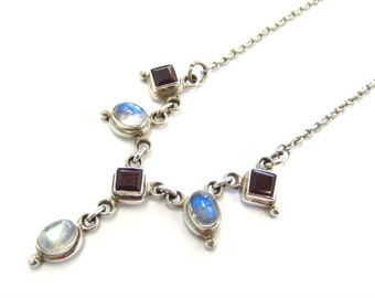 Handmade OOAK Sterling Silver Rainbow Moonstone and Red Garnet Collar Necklace