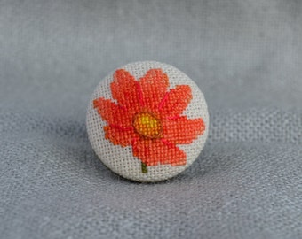Flower ring Cross stitch ring Embroidered jewelry Tangerine flower Ring handmade Blaze flower Round ring Gift for her