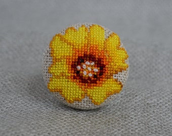 Embroidered Yellow Flower Cross Stitch Ring Embroidered Jewelry Unique Flower Ring Handmade Yellow Flower