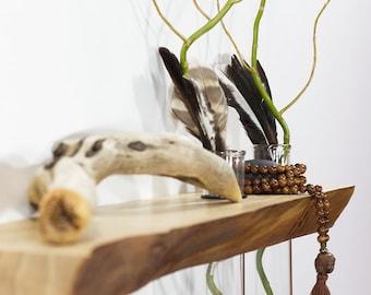 Floating shelves, altar, vases, wall art, Feng Shui, side table, live edge, wood slab, small furniture, spa, yoga, wall decor, meditation