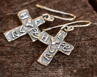 Artisan Sterling Silver Cross of Hope and Love Earrings, on Handmade Earring Wires