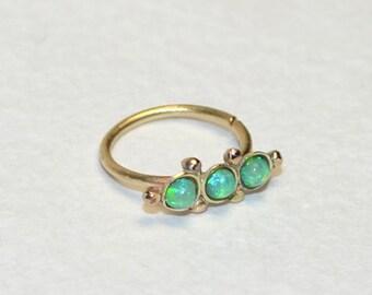2mm Green Opal Nose Ring, Gold nose stud 18 gauge, Cartilage piercing, Tragus earring, Helix hoop, Rook piercing jewelry, Daith piercing