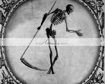 Instant Download Printable Art - Grim Reaper Dead Death Macabre Skeleton Dark Halloween Antique Art - Altered Art Paper Crafts Scrapbooking