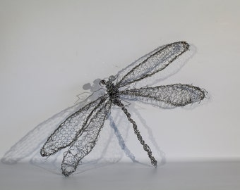 Wire Art, Dragonfly Decor, Dragonfly Sculpture, Bug Decor, Insect Decor, Decoration Gift, Friendship Gift, Patio Decor, Cottage Chic Decor
