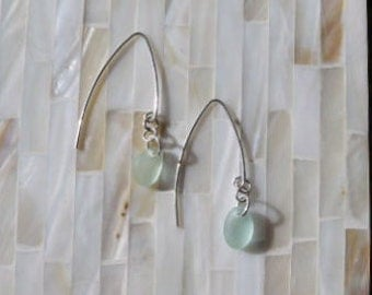 Genuine Hawaiian Sea Glass Earrings in Seafoam and Sterling Silver