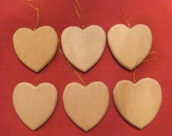 Unfinished Wooden Heart Ornaments with Gold Hangers, Set of Six