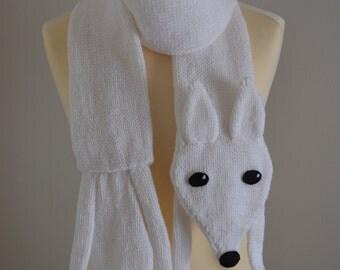 Knit Fox Scarf Animal Scarf White
