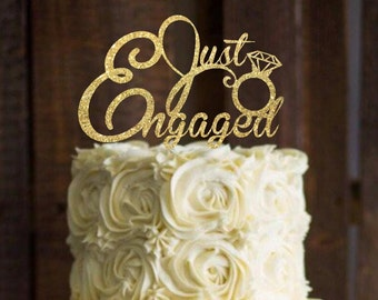 Cake topper - Engagement Cake Topper - Just Engaged cake topper - Bridal Shower Cake topper - Engagement Party - Cake Decor