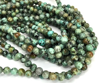 6mm Round Natural African Turquoise Gemstone Full Bead Strand