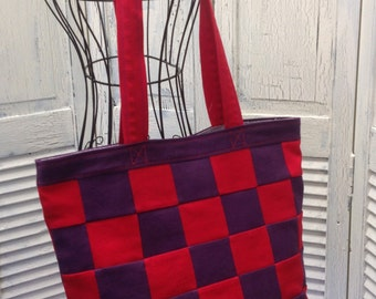 Bleu Redux Upcycle Red Hat Checkered Denim Tote (DB18)