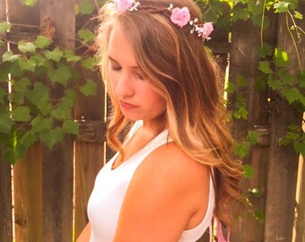 Pink headband / wedding hair accessories / wedding headband / boho floral crown / flower crown / halo wreath  / bride / bridesmaid / halo