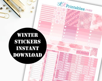 Winter Printable Planner Stickers // Erin Condren Printable / Plum Paper Planner / Winter Printable Digital Download 00120