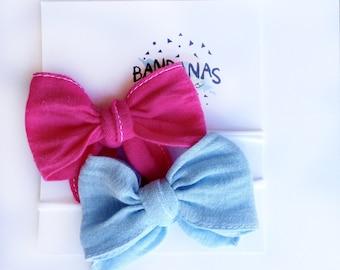 Pink and Light Blue Headband