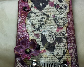 mixed media canvas, collage, love, distressed, vintage, romance, hearts, wall art, home decor