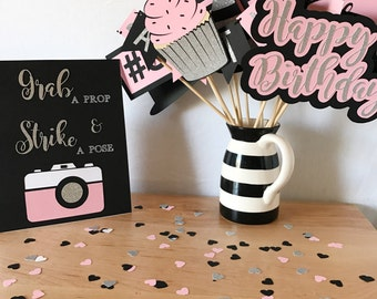 Birthday Photo Booth Props | Photo Booth Props | Fancy Photo Booth Props | Light Pink Birthday | Pink and Silver Decorations | Props