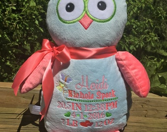 Personalized stuffed animal baby announcement birth announcement stuffed animal baby gift  photo prop monogrammed baby gift plush owl