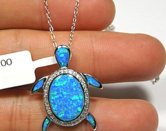 """925 Sterling Silver 18"""" Necklace with Blue Fire Opal Inlay Turtle Pendant"""