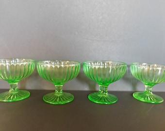 Vintage Green Vaseline Sherbet Glasses