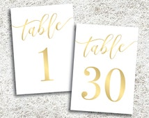 Printable Gold Wedding Table Numbers 1 - 30 | Instant Download | Printable Gold Table Numbers | Events | Banquet | Anniversary | Reception
