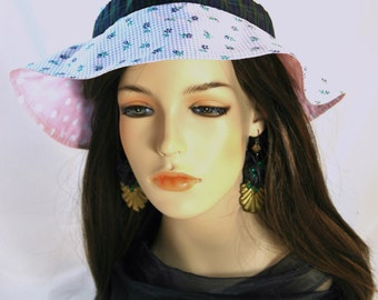 Girl's Check & Flower Tartan Sun hat