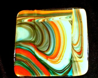 Artsy Fused Glass Coasters,Southwestern Colors,Swirls,Glass Coasters,Trays,Hostess Gift,Home,Kitchen,Bar,Gift for Women