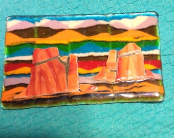 Orange Desert Sunset Tapestry in Fused Glass Decorative Art by Feralartist -Southwestern Decor, Gift