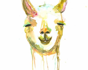 BLISSFUL LLAMA: A Giclée of a watercolor painting of a blissful llama